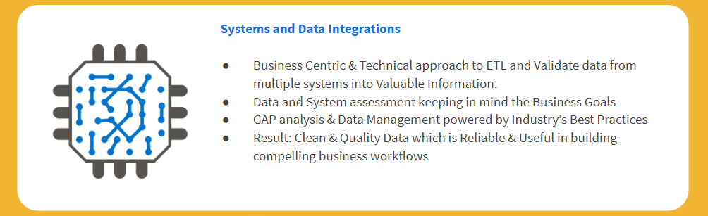 Systems and Data Integrations Business Centric & Technical approach to ETL and Validate data from multiple systems into Valuable Information. Data and System assessment keeping in mind the Business Goals GAP analysis & Data Management powered by Industry's Best Practices Result: Clean & Quality Data which is Reliable & Useful in building compelling business workflows